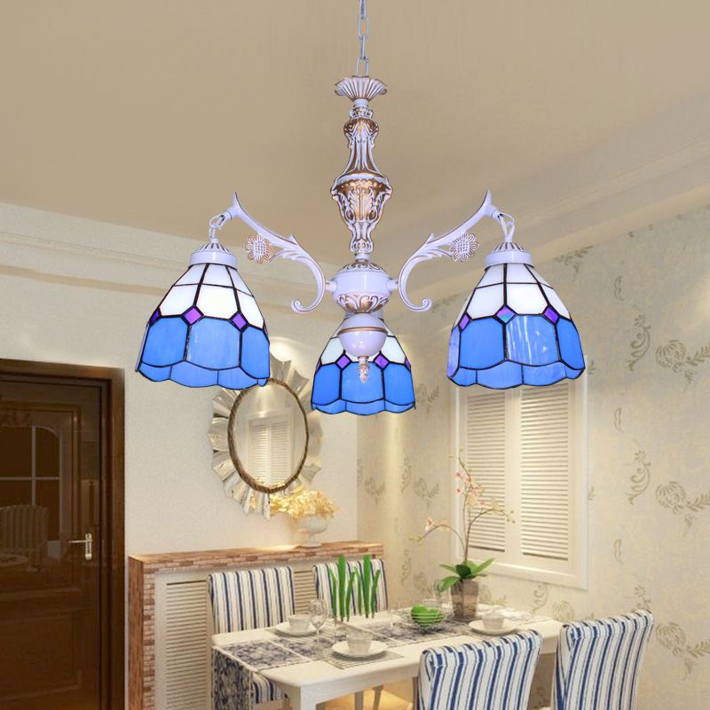 Us 213 11 Tiffany Style Stained Glass Antique Bronze Chandelier Bohemian White Dining Room Chandelier Vintage Hanging Kitchen Lighting In