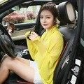 Лето женщины шифон пальто цвета конфеты повседневная кардиган элегантный Солнце Доказательство прозрачный сексуальные женщины Куртка Тонкий Воланами Пальто
