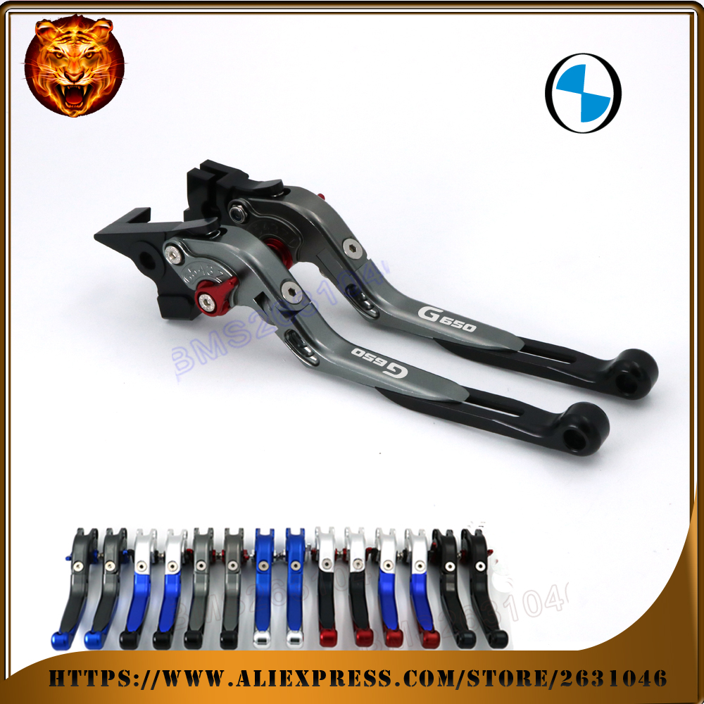 For BMW G650GS 650GS GS 08-16 G650 Sertao  10-15  LOGO BLACK BLUE  Motorcycle Adjustable Folding Extendable Brake Clutch Lever bmw logo signature booktype bmflbkp6lob black