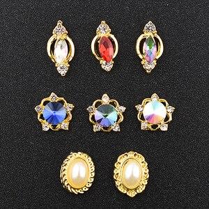 10Pcs 3d nail art decorations rhinestone Alloy charm gliter nail gold studs crystal diamonds Stone strass jewelry accessoires(China)