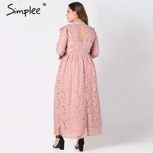 Image 3 - Simplee אלגנטי תחרה ארוך שמלת נשים בתוספת גודל ארוך שרוול רשת חלול החוצה מקסי שמלת סתיו נשי רקום המפלגה vestidos