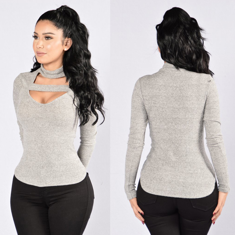 Blause 2017 Women Turtleneck Collar Cotton Shirt Sexy Deep Front Open Lace Up Long Sleeve Blouse Casual Tops Plus Size S-XL