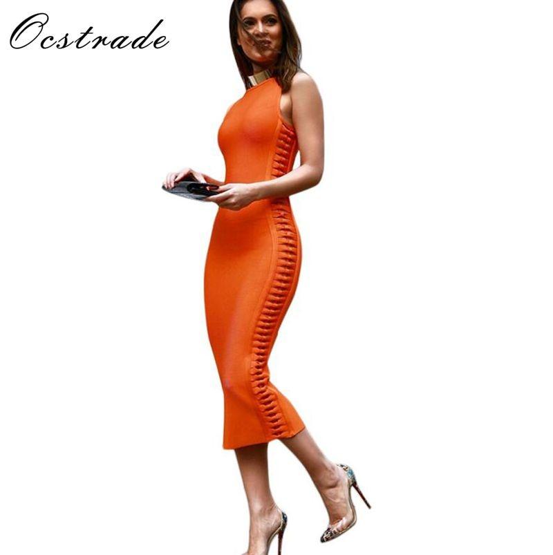 شحن مجاني إمرأة فساتين جديد وصول 2017 الصيف البرتقال الجانب نسج ميدي vestidos ضمادة فساتين النساء رايون أحمر أسود أبيض