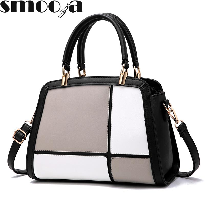 9ec63edbee SMOOZA Patchwork totes Women Casual Shoulder Bag High Quality Pu Leather  Handbag Vintage Stitching Crossbody Bag top hand sac