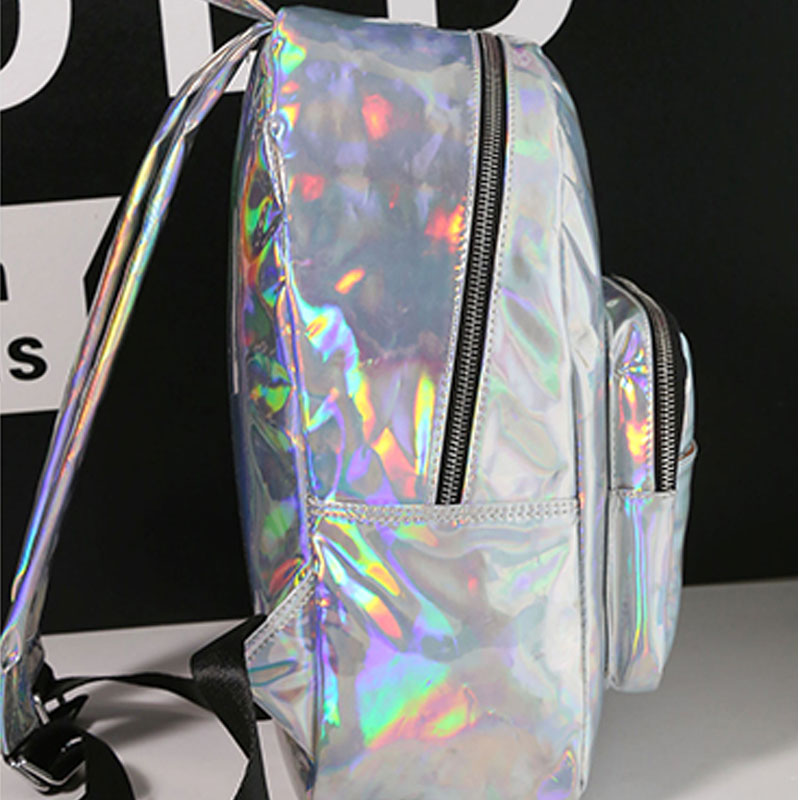 ac85d122f7 2019 New women hologram backpack laser daypacks girl school bag female  silver pu leather holographic bags big medium small size-in Backpacks from  Luggage ...