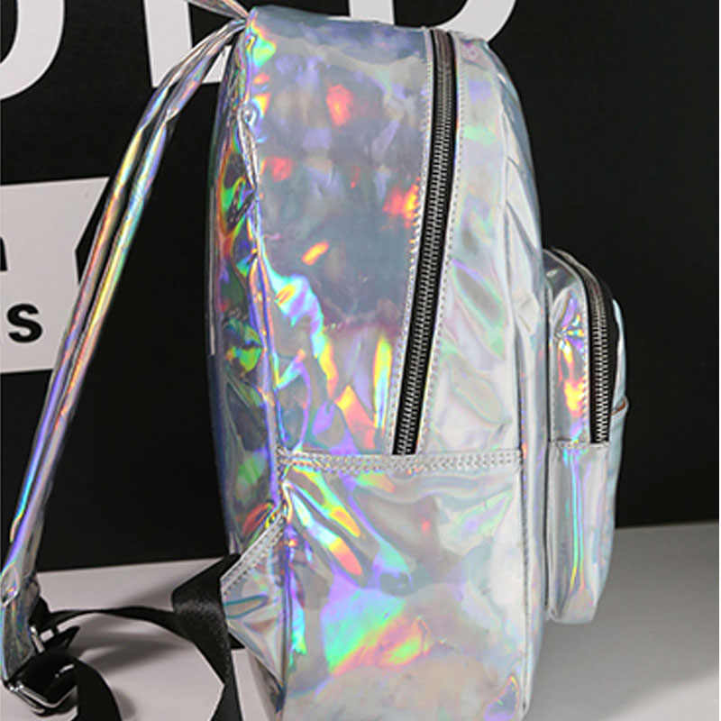 2020 yeni kadın hologram sırt çantası lazer daypacks kız okul çantası kadın gümüş pu deri holografik çanta büyük orta küçük boy