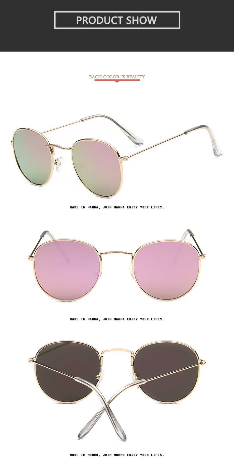 d2a02eacd46ce Round Sunglasses Women Brand Designer Vintage Metal Cheap Sun glasses for  Female High Quality Glasses Retro Small Circle Eyewear