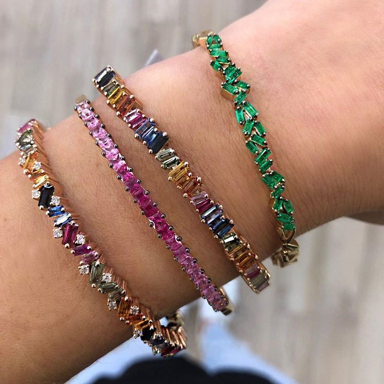 Inner 56-58mm Diamater 17-18cm Rainbow Baguette Firework Cz Women Lady Gorgeous Luxury Bangle Bracelet To Invigorate Health Effectively Jewelry & Accessories