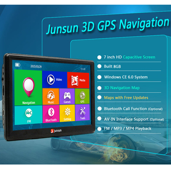 "7"" HD FM Bluetooth Car GPS Navigator - D100 2"