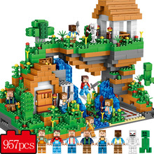 Qunlong My World Hidden Water Falls Building Blocks Figures Bricks Toys Educational Toy For Kids Compatible Legoe Minecraft City