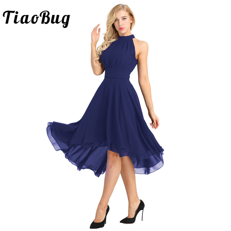 TiaoBug Women Ladies Halter Sleeveless Chiffon Summer Dresses Elegant Female Bridesmaid Wedding Vestido Evening Prom Party Dress