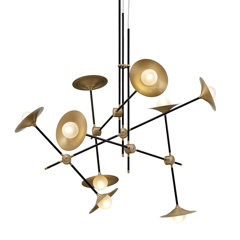 Copperblack trumpet chandelier with glass shade metal body 3heads6 copperblack trumpet chandelier with glass shade metal body 3heads6 heads interior designer suspension luminaire g9 led bulb in pendant lights from lights mozeypictures Image collections