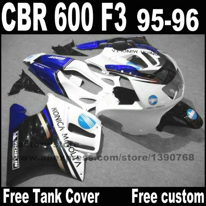 High quality fairing kit for HONDA CBR 600 F3 fairings 1995 1996  95 96 blue white black  set +tank  CN22 high quality plastic fairing kit for suzuki gsx 600f 750f 95 96 97 05 blue black fairings set gsx600f 1995 1996 2005 lm19