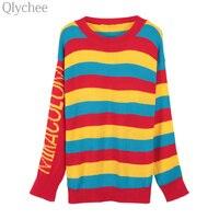 Qlychee Outono Mulheres Bonito Rainbow Stripe Jumper Do Bloco de Cor Carta Camisola de Manga Longa Ocasional Pullover De Malha De Grandes Dimensões