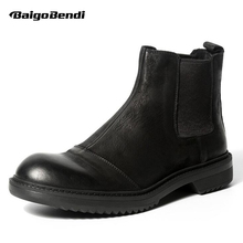 Hight-end Retro Men Chelsea Boots Pure Black Slip On Man Round Toe Soliders  Boots Genuine Leather Winter Casual Shoes цены