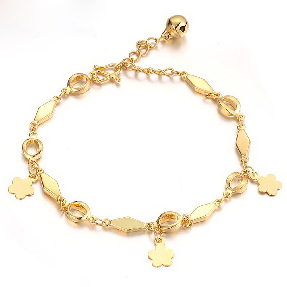 Us 5 79 42 Off Flower Patterned Bracelet Yellow Gold Filled Womens Chain Link In Bracelets From Jewelry Accessories