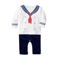 New 2016 Summer Cotton Ropa Bebe Baby Boy Sailor Suit Clothing Anchor Creeper Jumpsuit Long Sleeve