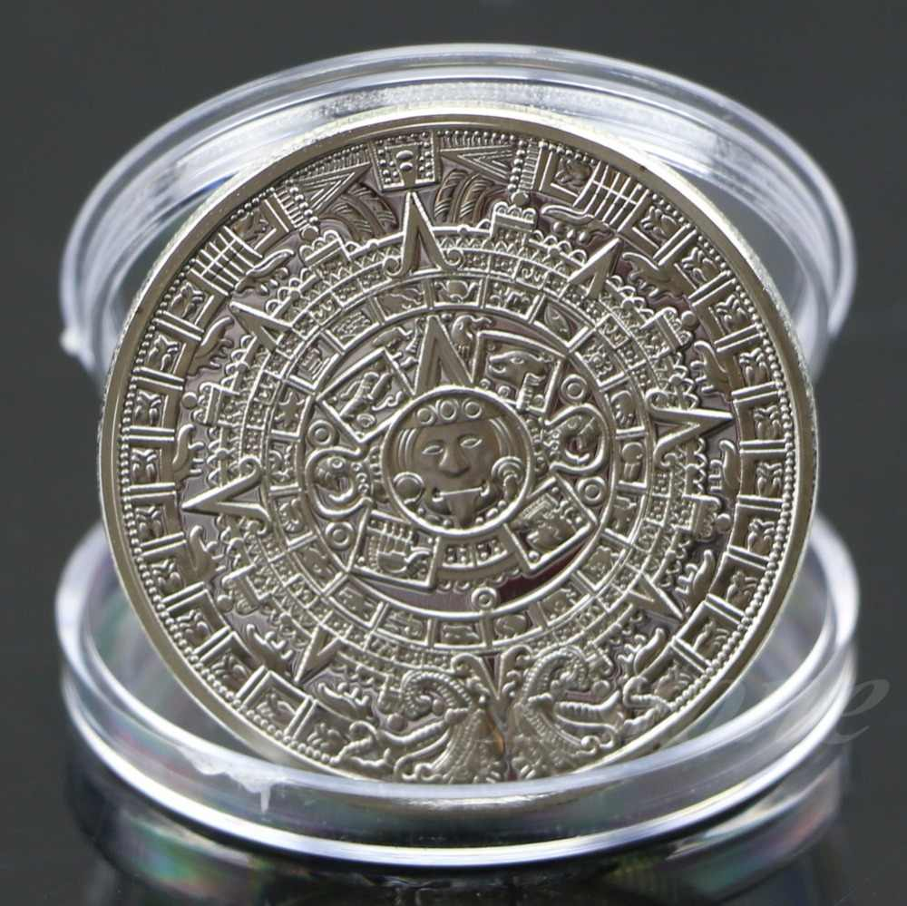 New Silver Plated Mayan Aztec Calendar Souvenir Commemorative Coin Collection
