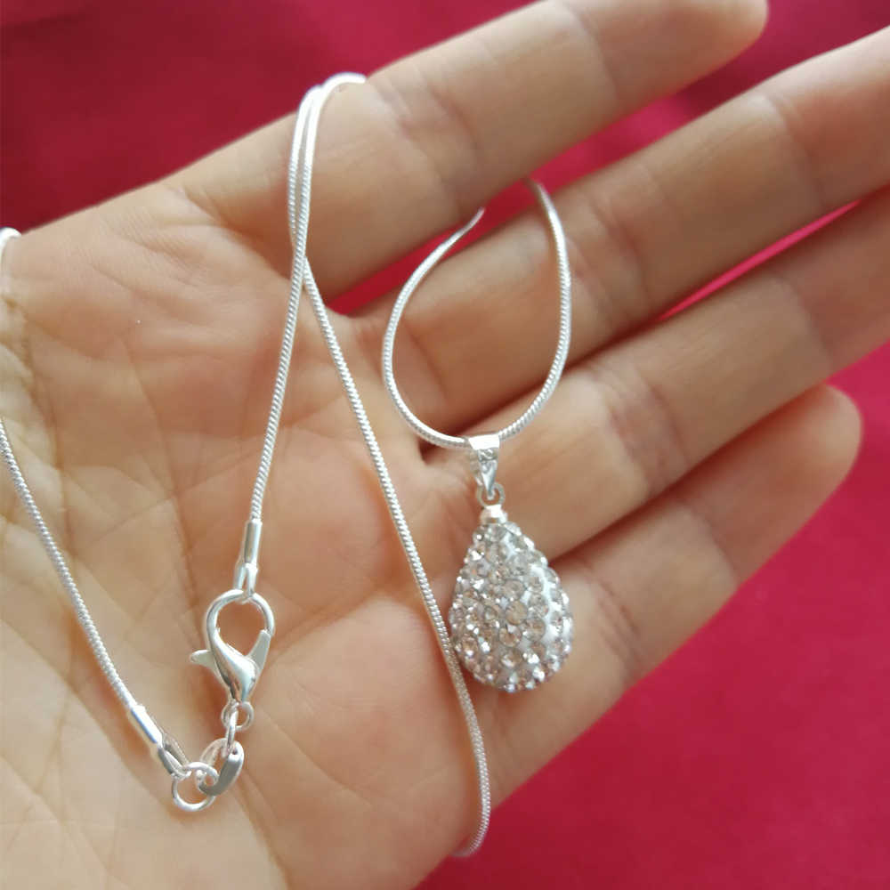 Collier Femme Sterling Silver Necklaces For Women Waterdrop Crystal Pendant & Necklace Chain Choker Wedding Bridal Jewelry Gifts