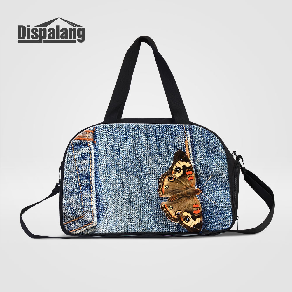 1db596bd6c6f Dispalang Cute Butterfly Print Travel Duffle Bags For Women Canvas Denim  Pattern Hand Luggage Overnight Bag For Students Handbag
