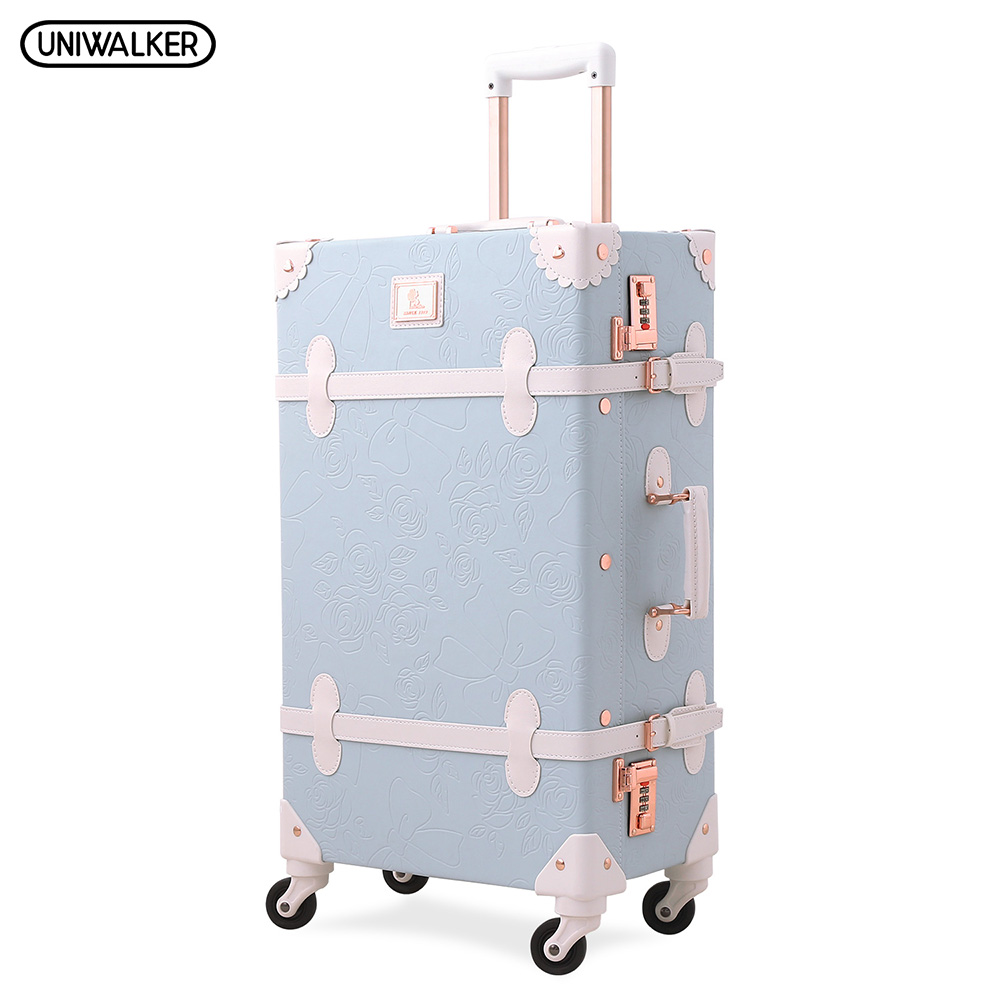 все цены на UNIWALKER Light Blue Retro Rolling Luggage with Adjustable Rod Spinner Wheels Vintage Cute Suitcase for Women Carry On