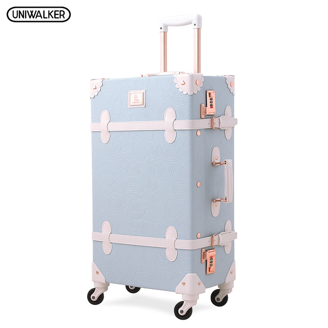 488a2d553 UNIWALKER Light Blue Retro Rolling Luggage with Adjustable Rod Spinner  Wheels Vintage Cute Suitcase for Women Carry On