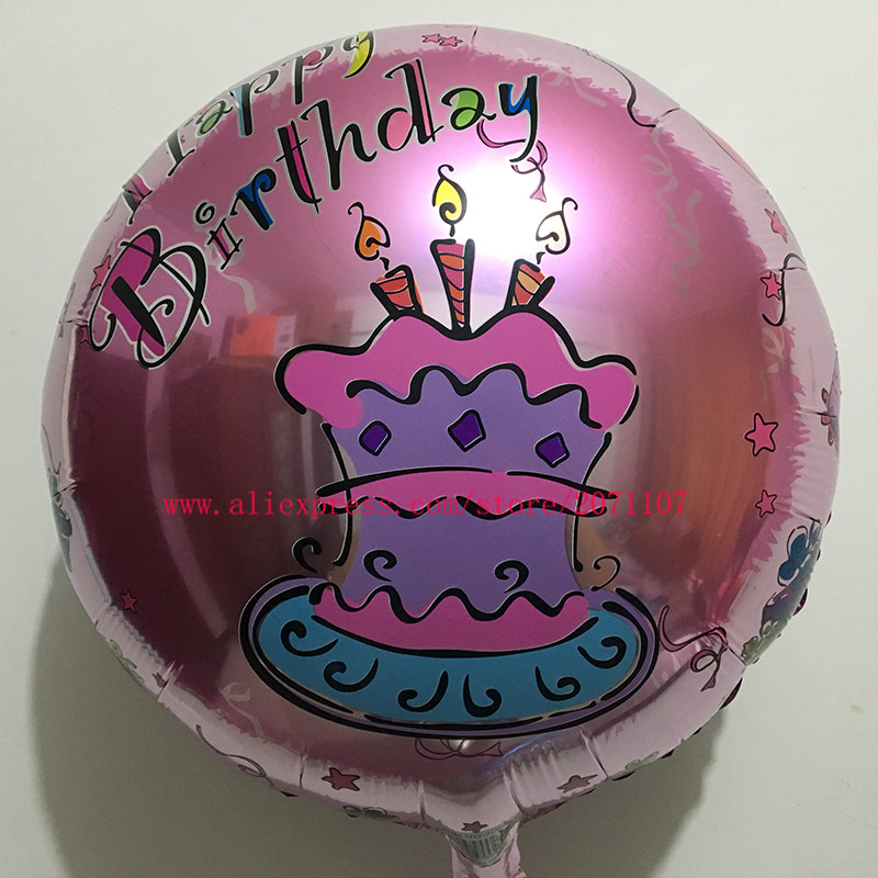 Lucky 50pcslot 4545cm Birthday Cake Foil Balloons Happy Birthday