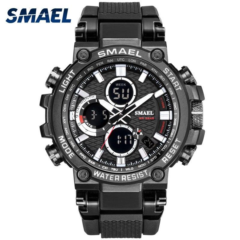 Men Military Watch 50m Waterproof Wristwatch LED Quartz Clock Sport Watch Male Relogios Masculino 1803 Smael Watch Men Shock