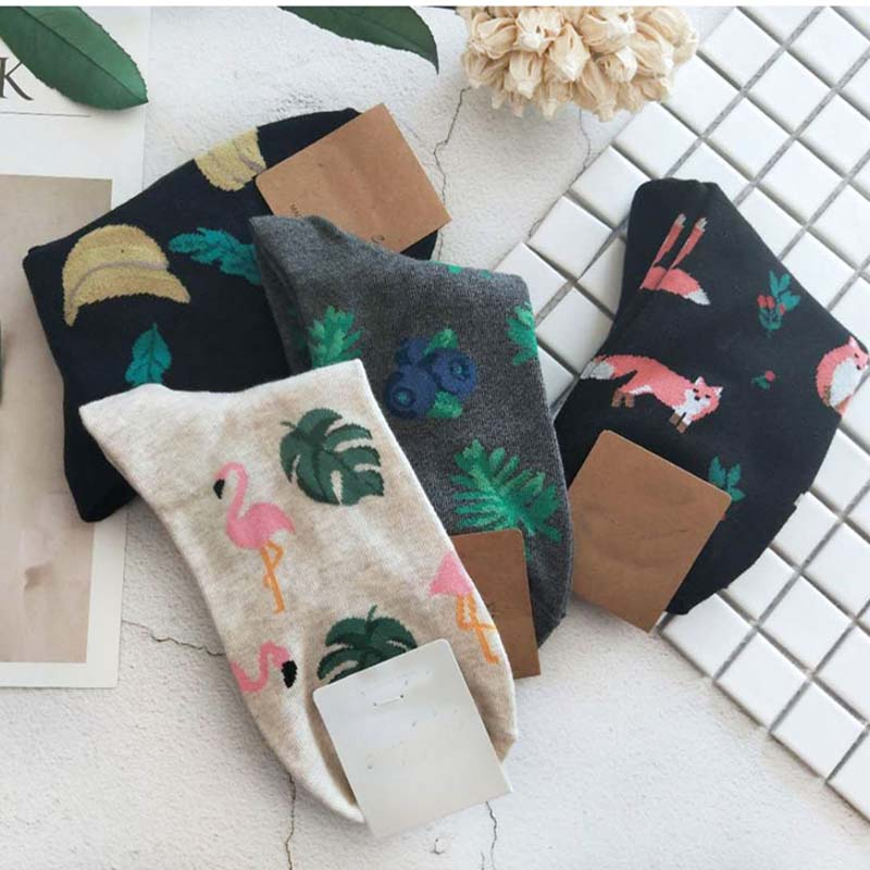 [COSPLACOOL]Japanese Harajuku Cute Flamingos Socks Women Kawaii Animals Fruit Pattern Socks Novelty Plant Funny Calcetines Mujer