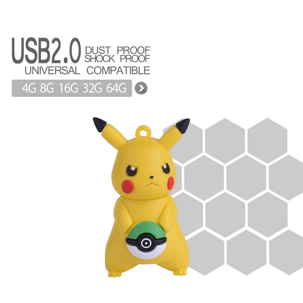 64gb 32gb 16gb 8gb 4gb USB Flash Drive Pokemon Model Pendrive Pocket Monsterpen Drive U Disk Memory Stick Fashion Gift Drop Ship