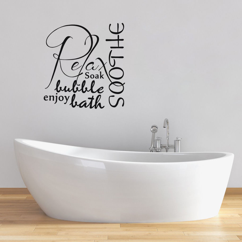 D521 Relax Soothe Enjoy Bubble Bath Tub Home Decor Bathroom Wall ...
