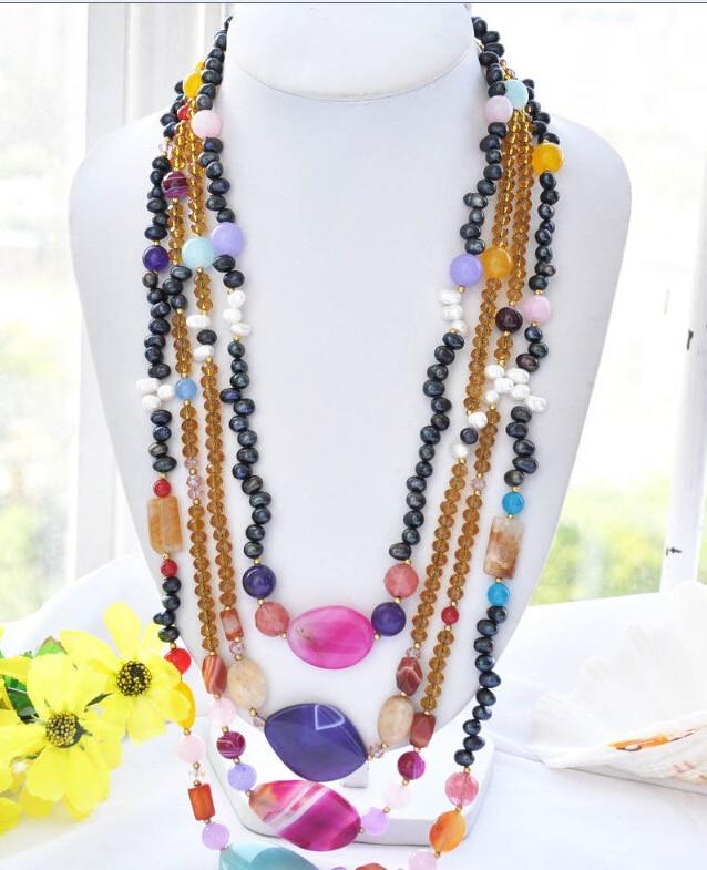 00065 jaune cristal noir blanc perle multicolore jade pierre collier