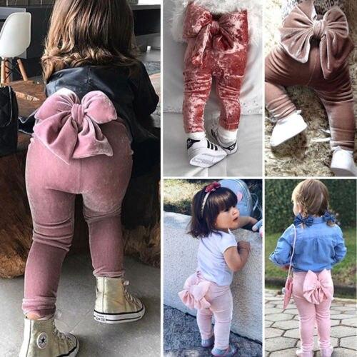 1 Zu 5 Jahr Mode Kleinkind Kinder Baby Mädchen Leggings Zurück Bowknot Böden Pleuche Nette Lange Hosen Hosen Kleidung