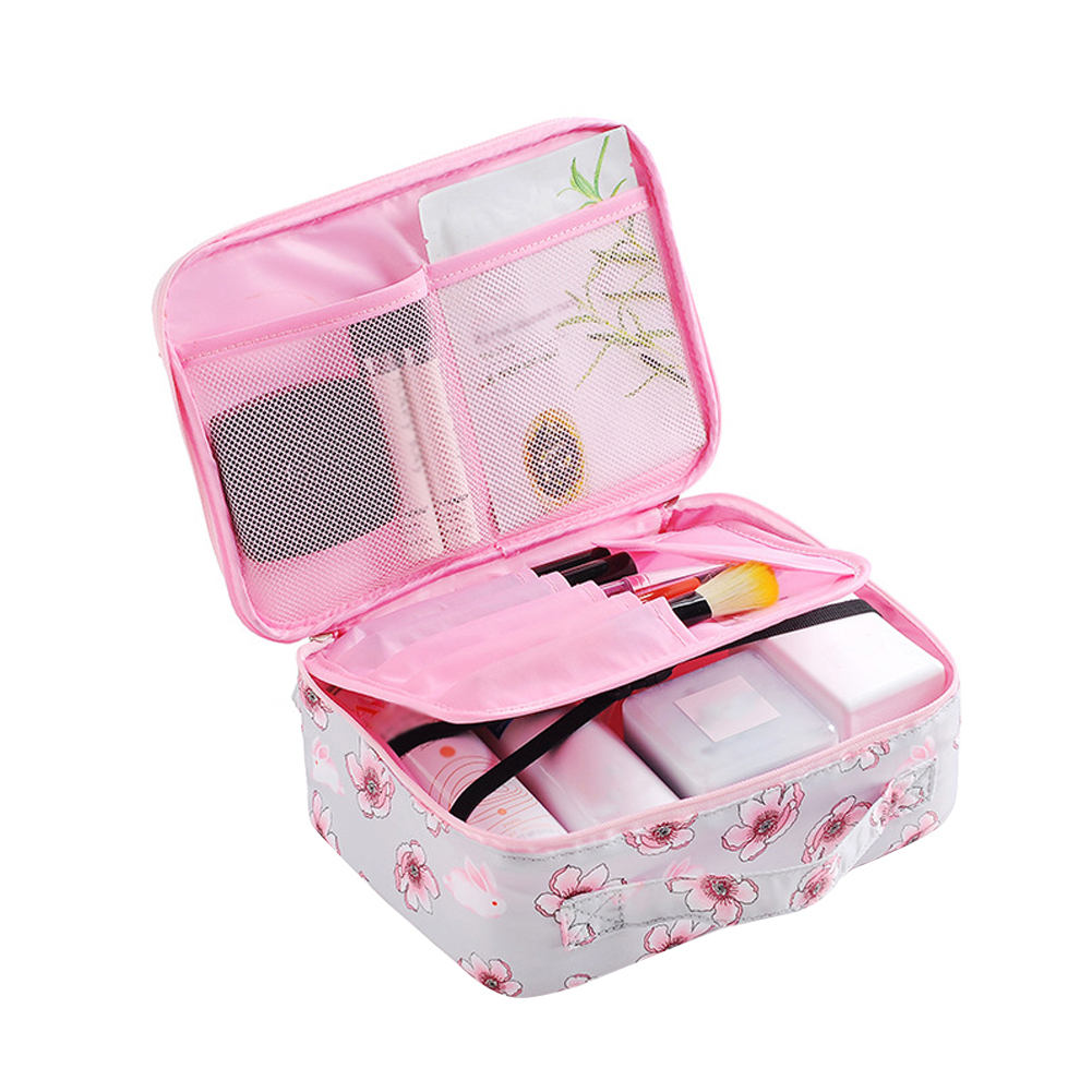 Printed Travel Bathroom PVC Waterproof Organizer Large Capacity Makeup Bag Portable Storage Removable Compartment Home Practical