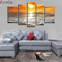 CLSTROSE 5 Pieces Wall Art Abstract Seascape Beach Wave Group Oil Painting On Canvas Decor Artist Painting Reproductions Picture