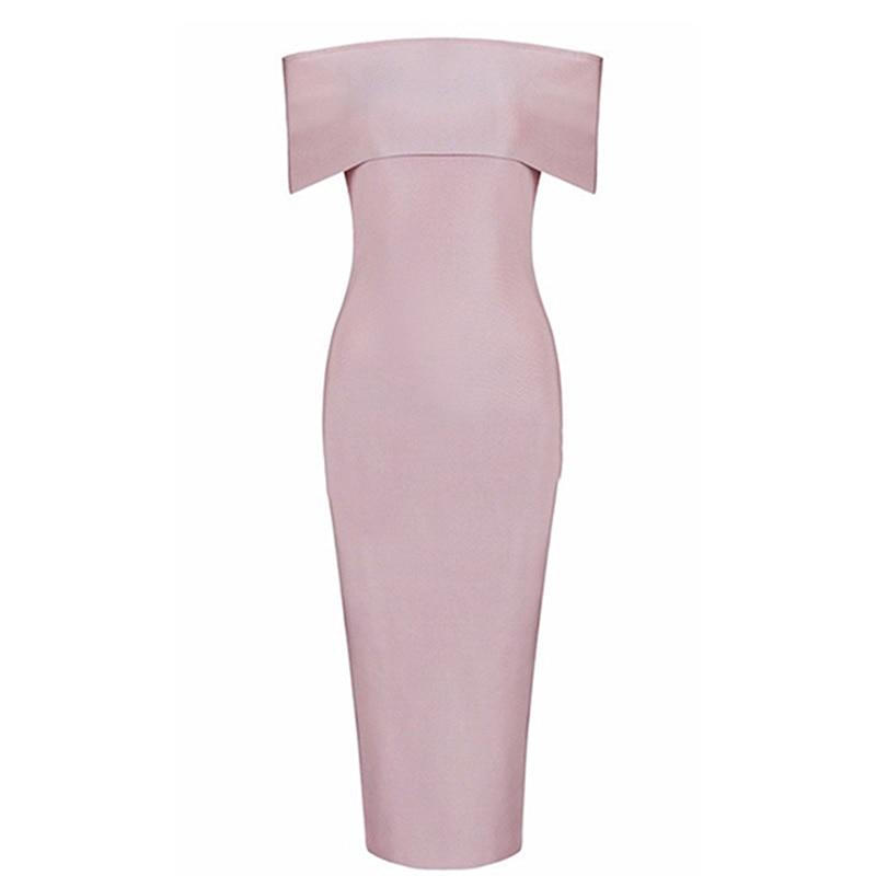 Women Dress Pink Off Shoulder Slash Neck Sexy Stretch Bandage Party Dresses Ladies Elegant Date Bodycon Girls Dress