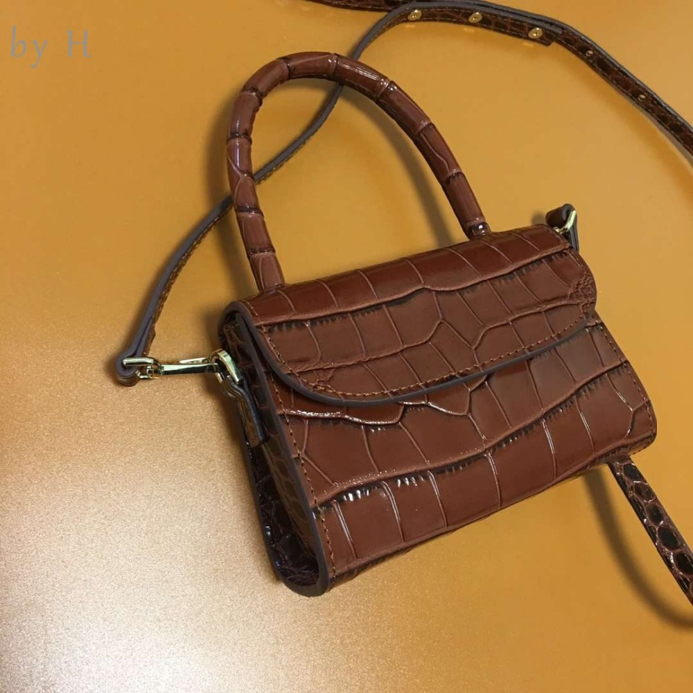 by H new arrival womens embossed mini totes luxury designers shoulder bags top handle crocodile handbags burgundy chic cross bag