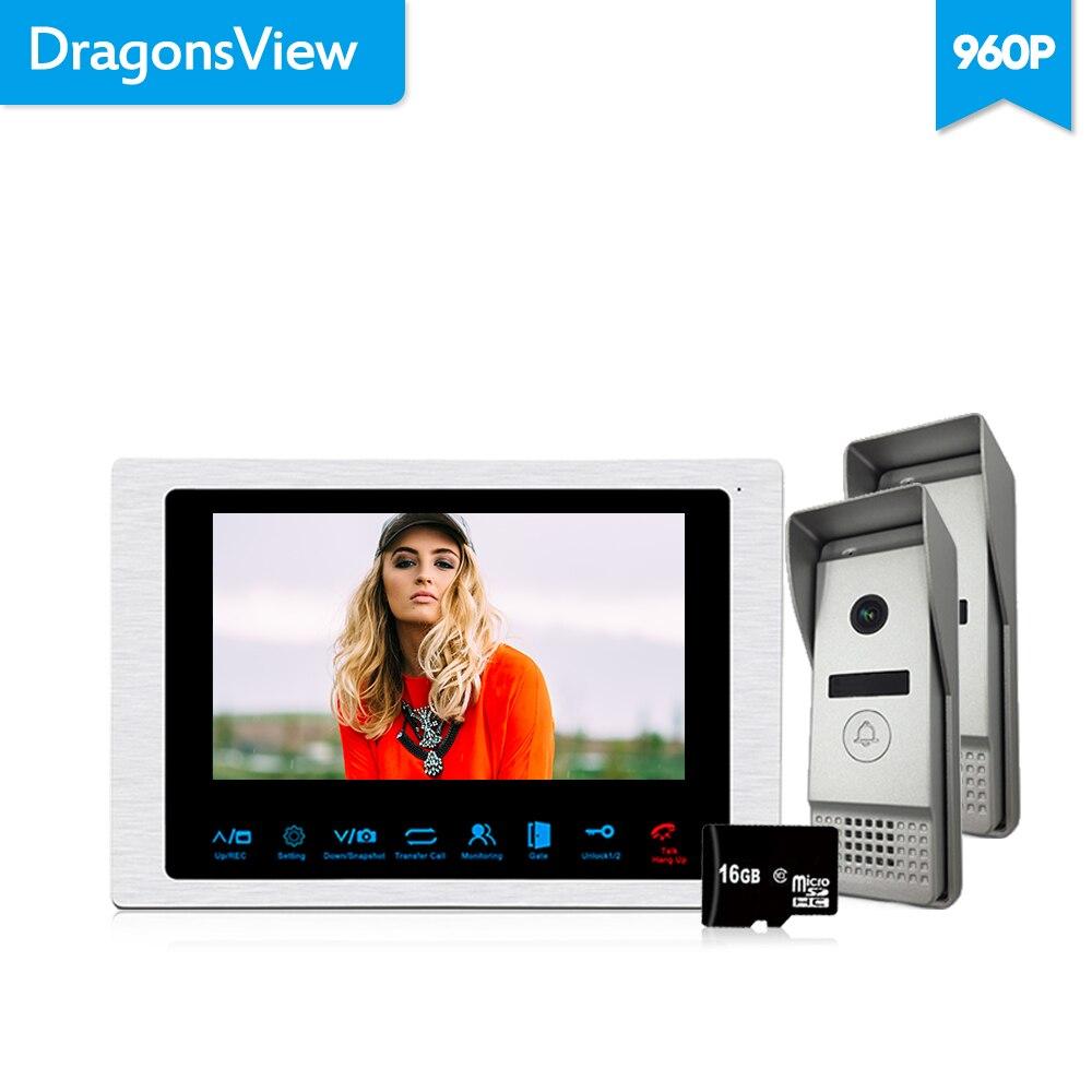 Dragonsview 4 Wire Video Intercom System 960P 7 Inch Video Door Phone Doorbell Intercom 1 Monitor 2 Panels Wide Angle 2.3mm Len