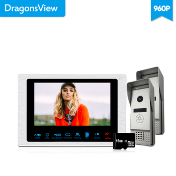 Dragonsview 4 Wire Video Intercom System 960P 7 inch Video Door Phone Doorbell Intercom 1 Monitor 2 Panels Wide Angle 2.3mm Len redeagle 7 inch video door phone intercom system 940nm ir night vision doorphone doorbell camera 110 degree wide angle