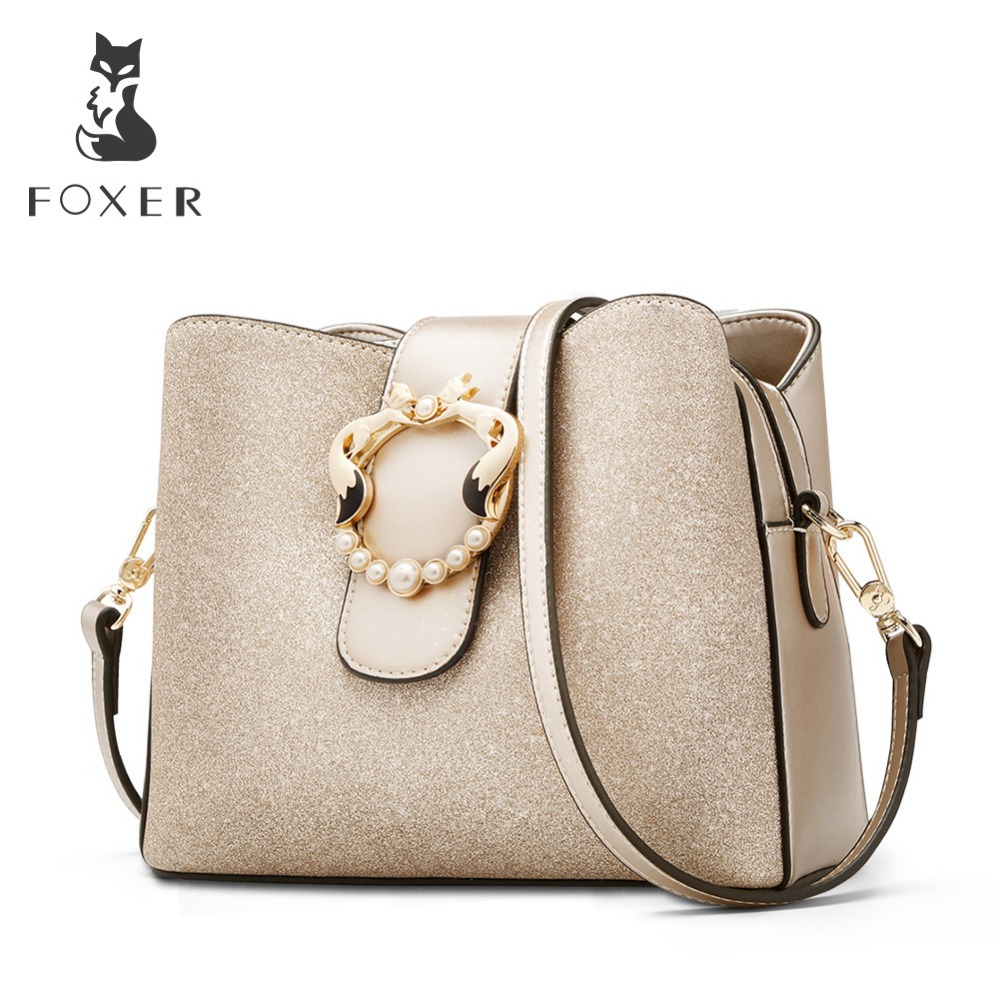 FOXER Brand New Chic Women Bucket bag Glossy Fashion Lady Messenger Bags Female Large Capacity Stylish Shoulder Bags purses