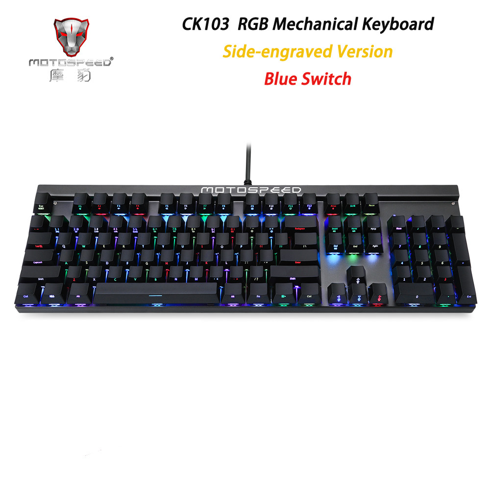New Side Engraved Motospeed CK103 Gaming Mechanical Keyboard 14 Modes RGB Backlight USB2.0 104 Anti-ghosting Keys Blue Switch цена