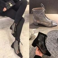 Модные женские ботильоны, сетчатая обувь, пикантные женские туфли-лодочки на платформе и высоком каблуке, женская обувь на шнуровке, aa1005