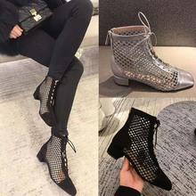 Купить с кэшбэком Fashion Womens Ankle Boots Mesh Shoes Sexy High Heels Lady Platform Pumps Lace Up Shoe Female aa1005