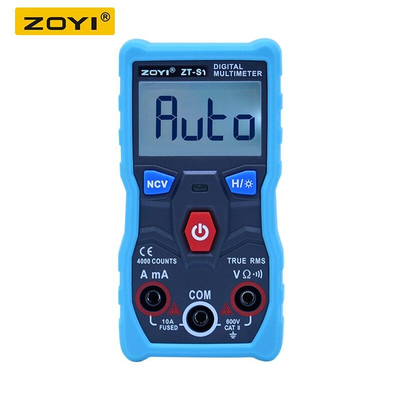 ZOYI ZT-S1 automático multímetro Digital de verdadero valor eficaz (RMS inteligente NCV 4000 cuenta AC/DC de corriente de voltaje Ohm herramienta de prueba