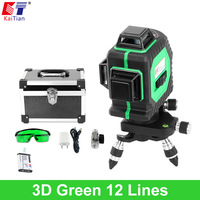 KaiTian 3D Green Laser Level Battery 12 Lines Cross Level Leveling With 360 Rotary Self Slash