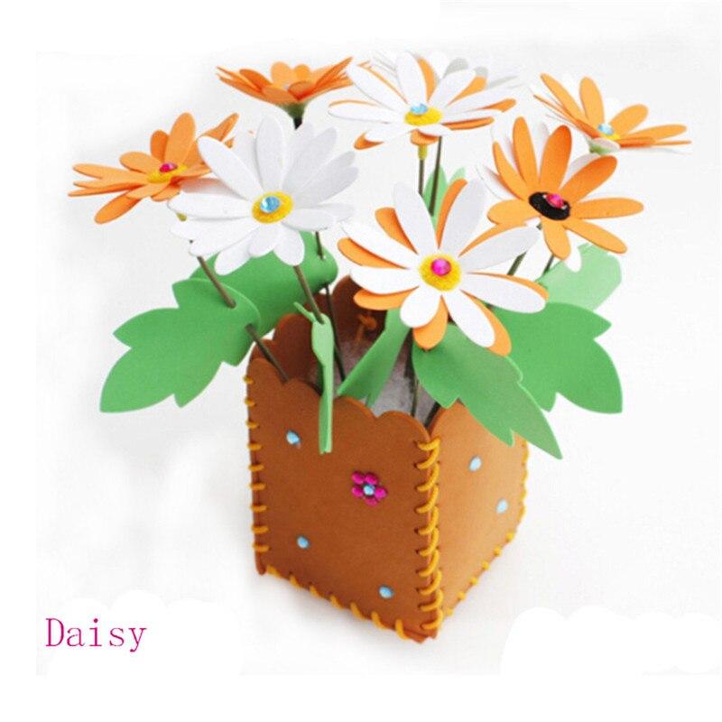 Bricolage Matériel Paquet Livraison De Coupe Colle Creative Parent-Enfant Arts Artisanat Jouets Maternelle EVA Main Pot de Fleurs pour En Pot
