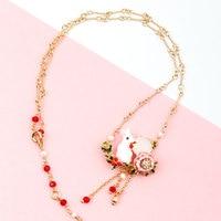 Bunny Rabbit Has Rose In Mouth Red Fruit Necklace & Pendant For Women Enamel Choker Fashion Charm jewelry Neckless Kolye Chocker