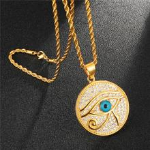 HIP Hop Stainless Steel Bling Iced Out Evil Eye Round Necklaces & Pendants Gold Filled Natural Stone Necklace For Men Jewelry