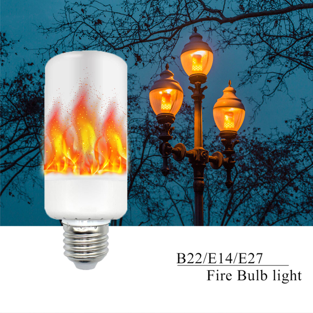 New Arrival E27 E14 B22 2835SMD LED lamp Flame Effect Fire Light Bulbs 5W Flickering Emulation flame Lights  AC85-265V
