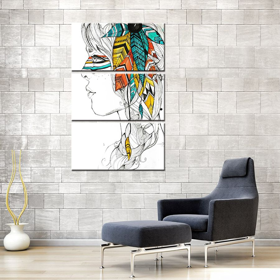 Pencil Draw Artwork Print Indian Girl Color Painting Print Canvas ...